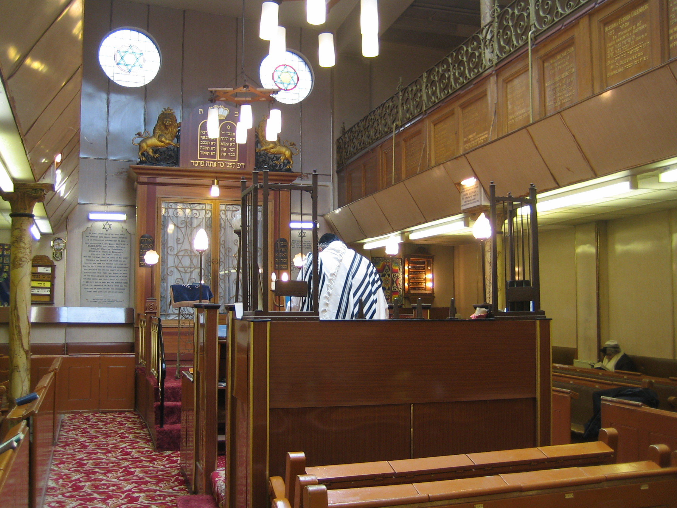 Fieldgate Street synagogue interior looking towards the Ark