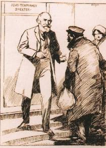 Hermann Landau receiving poor Jews at the Jews Temporary Shelter in Leman Street